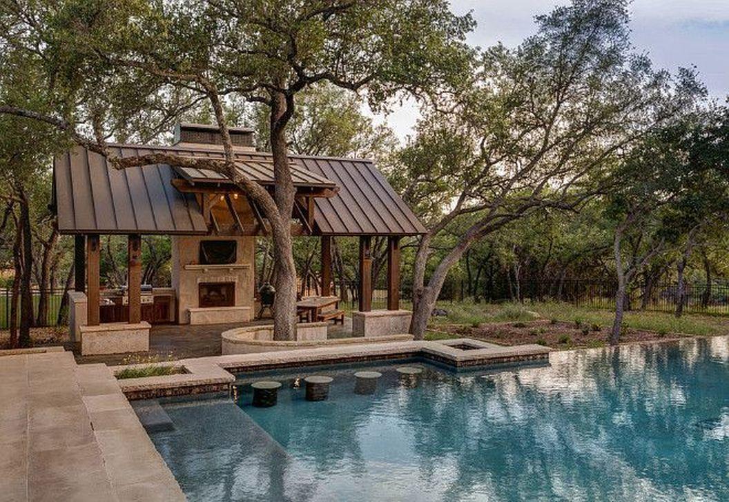 Awesome Backyard Patio Ideas With Beautiful Pool 44
