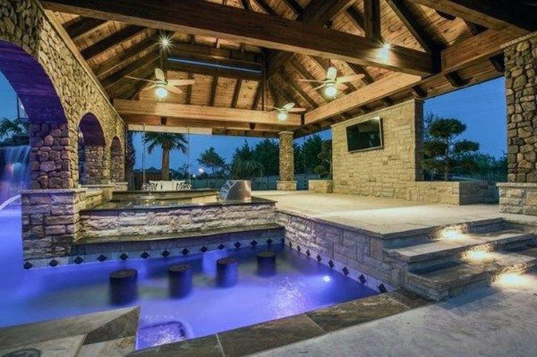 Awesome Backyard Patio Ideas With Beautiful Pool 48